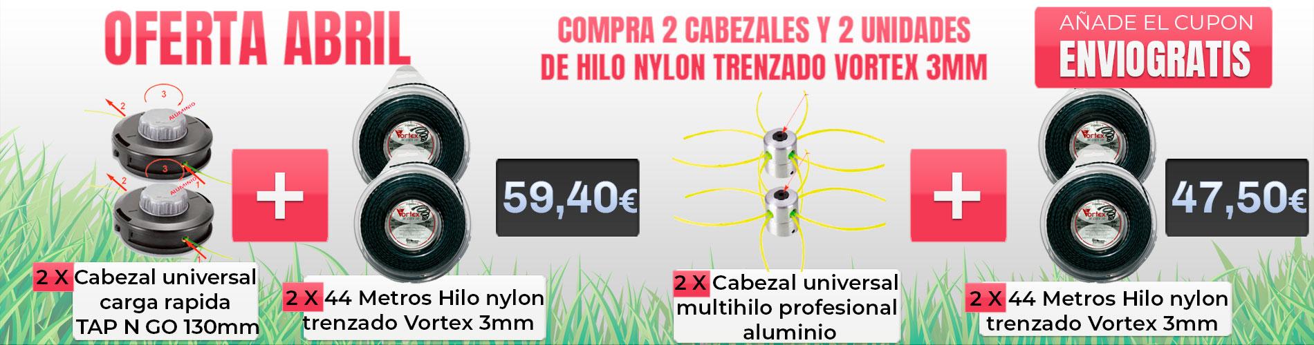 Compra 2 cabezales y 2 unidades de 44metros hilo nylon trenzado vortex 3mm (envió gratis)
